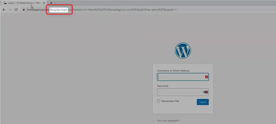 """JHMG Blog WordPress Login page, with """"/blog/wp-admin"""" highlighted in the URL"""